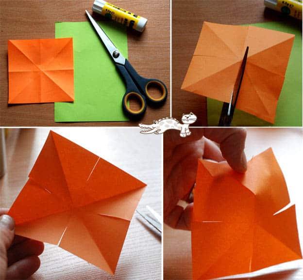 Первый этап изготовления тюльпанов из бумаги