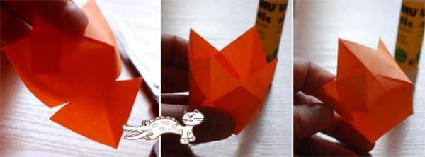 Второй этап изготовления тюльпана из бумаги
