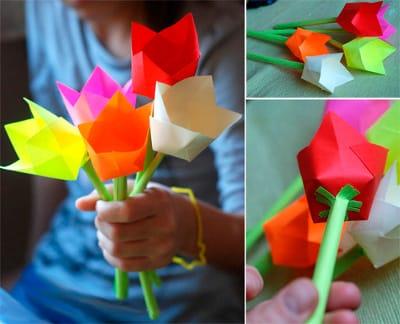 Букет тюльпанов из цветной бумаги своими руками