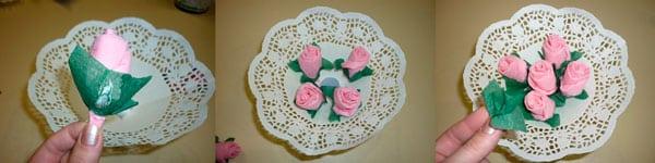 Шаг 7 - букет роз из цветных салфеток