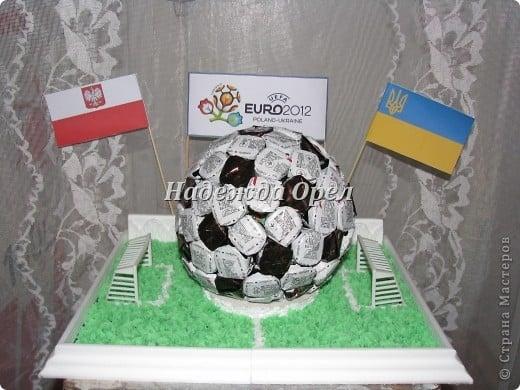 Подарок мужу - футбольный мяч из конфет