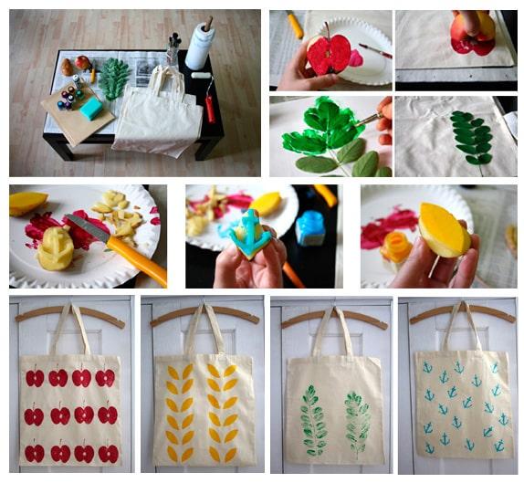 Процесс декорирования сумочки красками