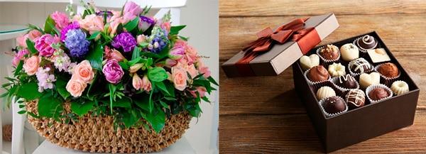 Цветы и конфеты для бабушки парня