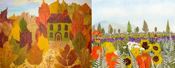 Картины из сухих листьев