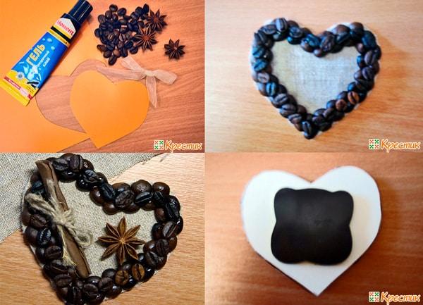 Процесс изготовления магнитиков из кофейных зерен