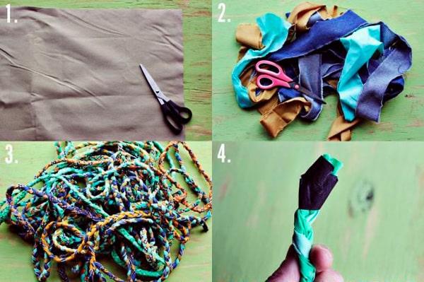 Процесс создания плетеного коврика - 1