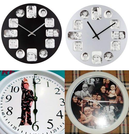 Самодельные часы с наклеенными фотографиями