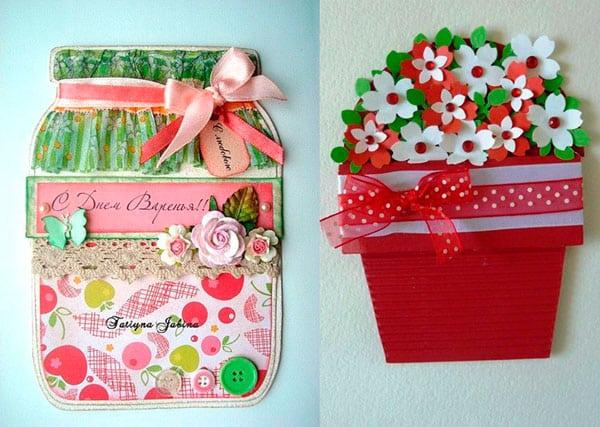 Открытки, выполненные своими руками: «Банка варенья» и «Горшок для цветов»