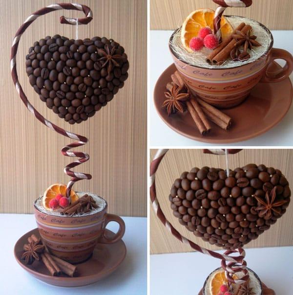 Бабуля обязательно оценит интересную форму кофейного дерева в виде сердца