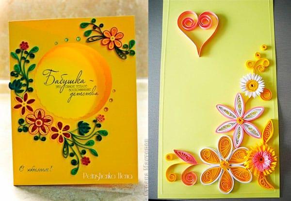Оригинальная открытка с элементами квиллинга для бабушки