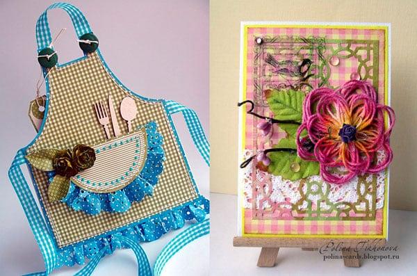 Открытки от внучки в виде фартука и цветочка