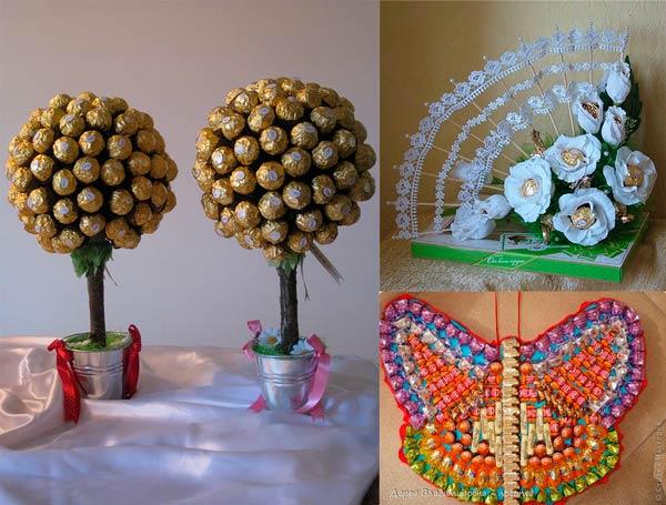 Оригинально упакованные конфеты в подарок