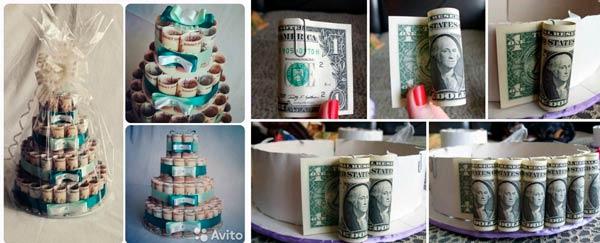 Настоящий торт из денежных купюр