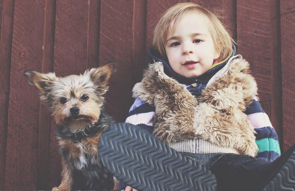 Мальчик 7 лет с собакой