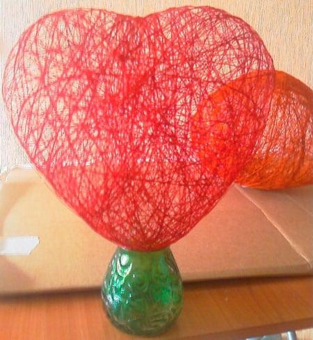Сердце из нитей и шаров