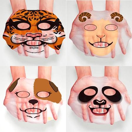 Набор тканевых масок для лица в виде животных