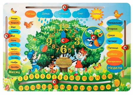 """Обучающий планшет из дерева """"Календарь природы и Часы"""""""