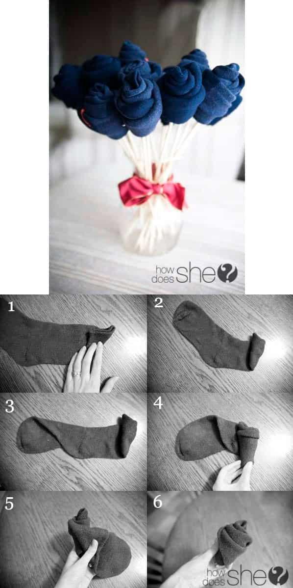 Носки в виде подарочного букета мужчине
