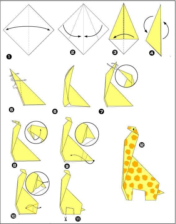 Жираф - схема оригами