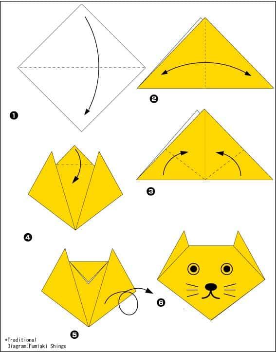 Кошка - схема оригами