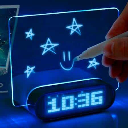 Светящийся Led-будильник с доской для записи