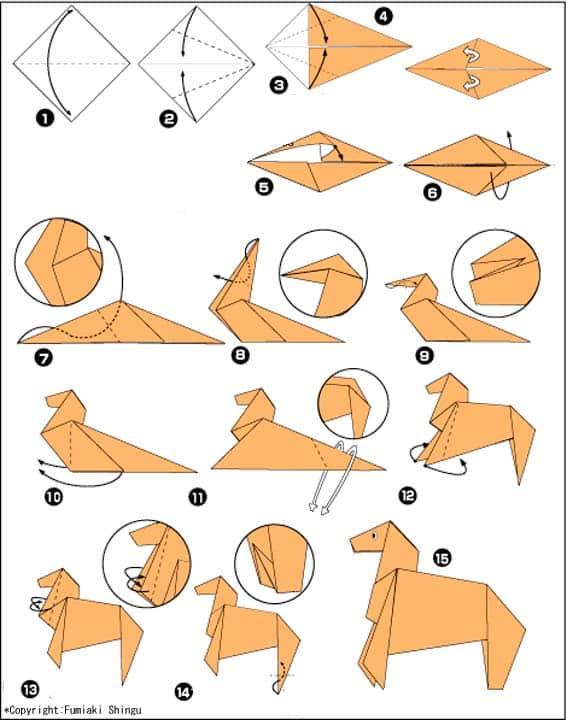 Лошадка - схема оригами