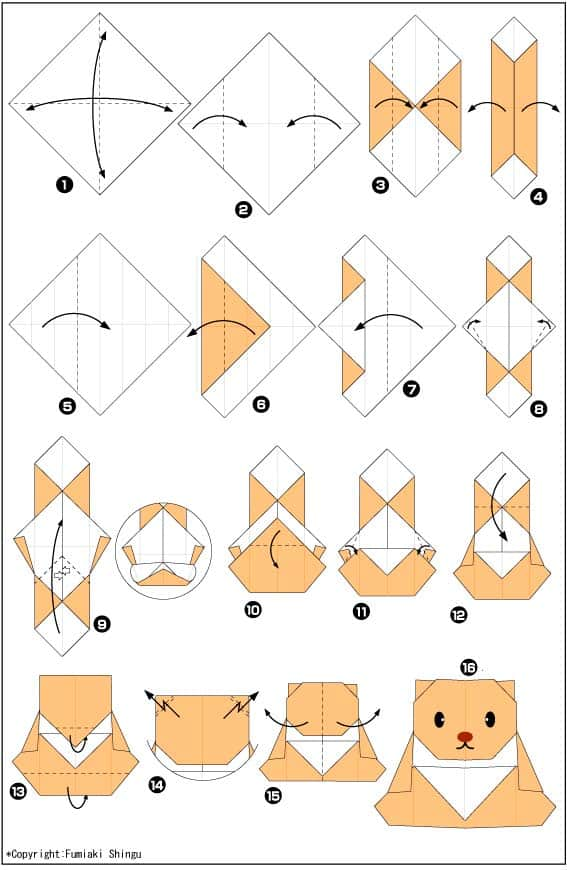 Медвежонок - схема оригами