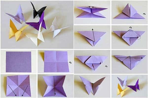 Бабочки из бумаги пошагово
