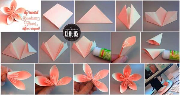 Оригами цветочек пошагово