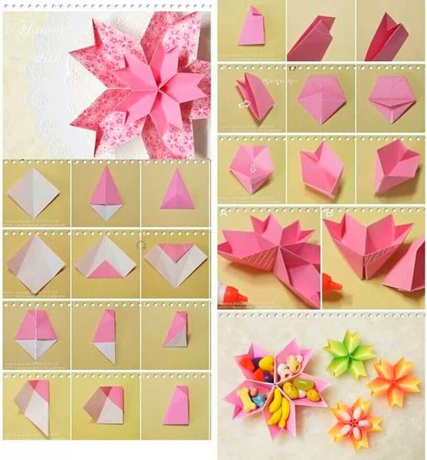 Простые открытки оригами на день рождения маме