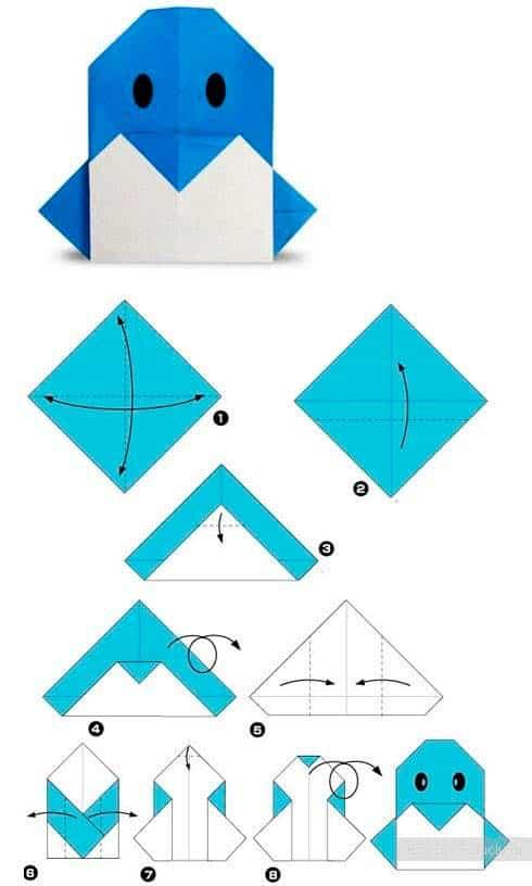 Пингвин схема оригами