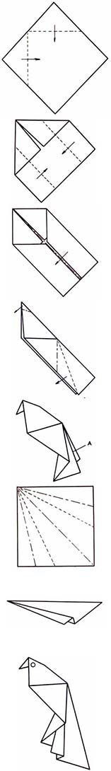 Попугай - схема оригами