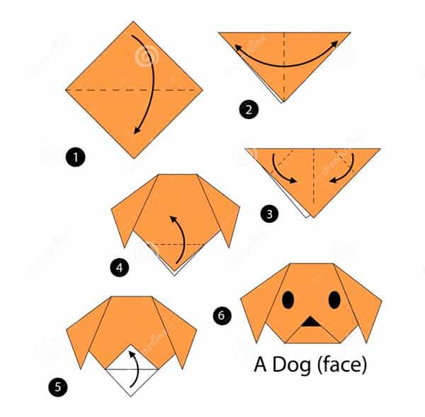 Собака - схема оригами