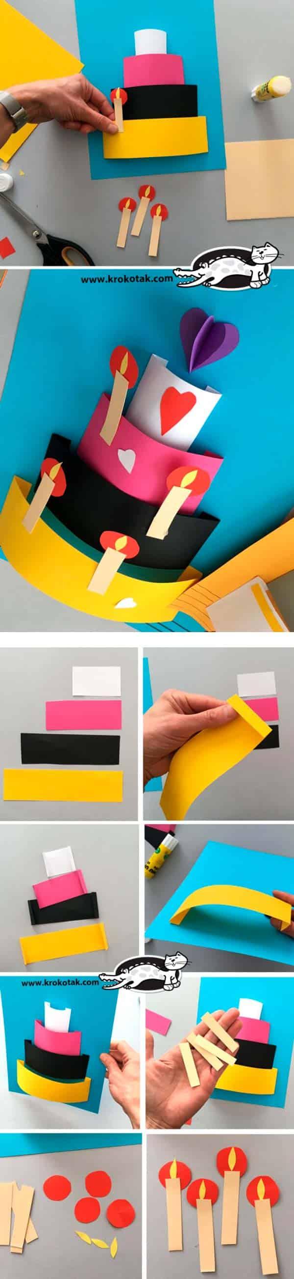 3D открытка в виде торта