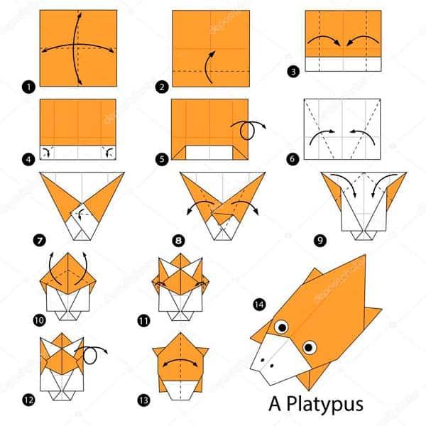Утконос - схема оригами