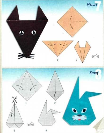 Мышка и зайчик - схема оригами